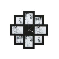 Horloge photos bois noir