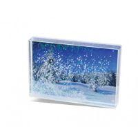 Lot de 6 blocs acryliques paillettes et neige pour photo 10 x 15 cm