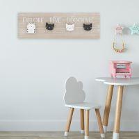 Lot de 2 Panneaux bois avec pinces à linges chat