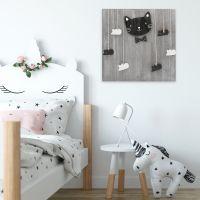 Lot de 2 Panneau gris chat  pinces à linges souris